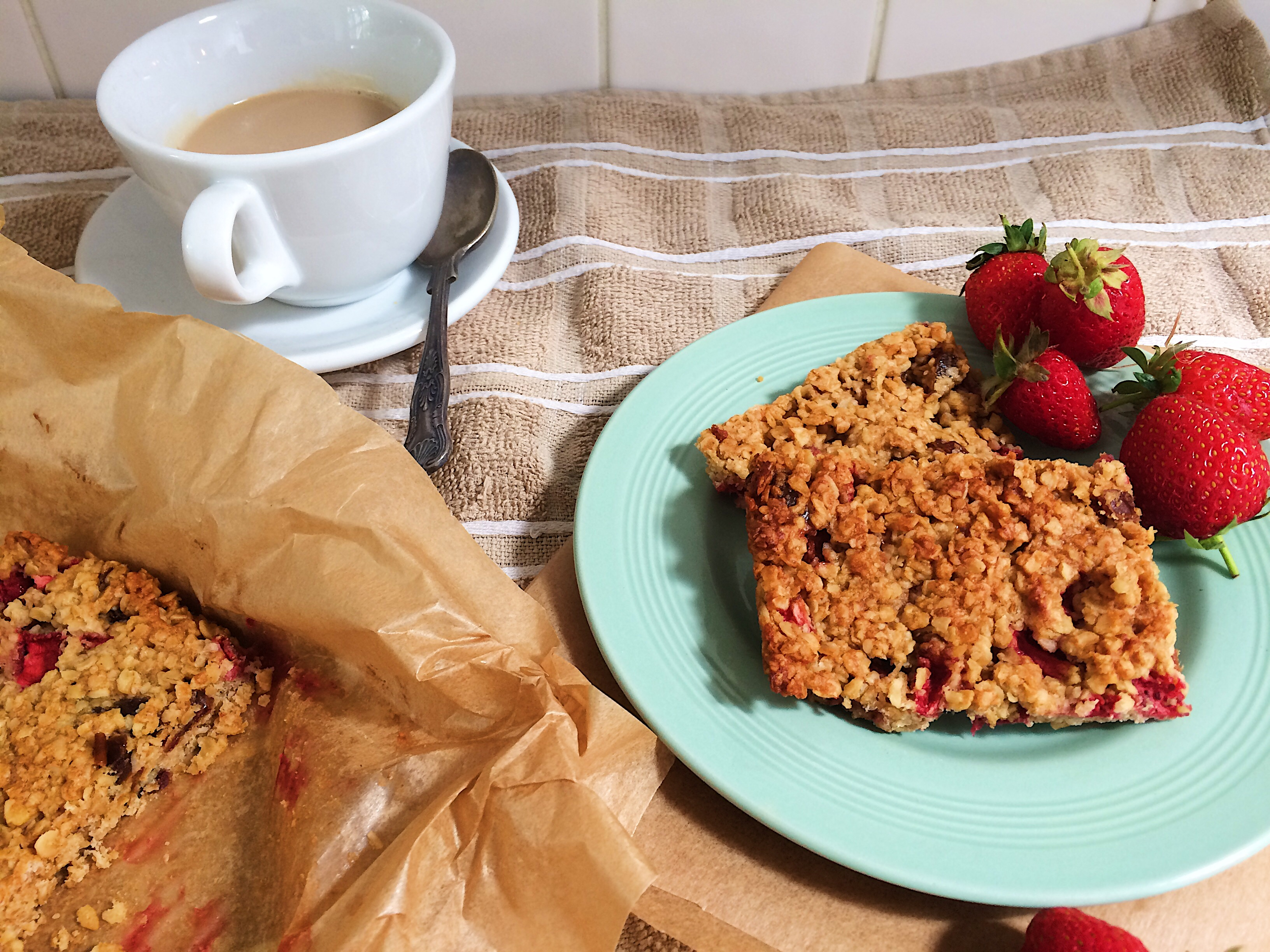 Strawberry Peanut Butter Flapjacks