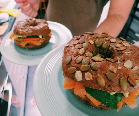 Vegan Avocado Hummus Bagels